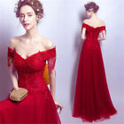 2017Women Off Shoulder Lace&Beads Red Dress Wedding Formal Party Ball Gown Dress