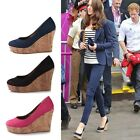 Womens Ladies Party Pumps Wedge High Heel Round Toe Platform Court Dating Shoes