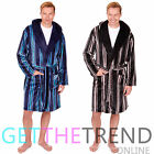 Mens Stripe Dressing Gown Flannel Fleece Luxury Nightwear Lounge Hooded Bathrobe