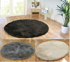 EXTRA LARGE BLACK/BROWN, WHITE/CREAM OR GREY/SILVER THICK ROUND SHAGGY RUG 180cm