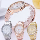 Women's Men's Watch Crystal Rhinestone Stainless Steel Analog Quartz Wrist Watch image
