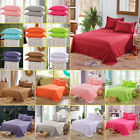 Comfort Cotton Flat Sheet Bed Cover Set Solid Color Bed Coverlet for Home Decor