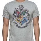 Harry Potter Hogwarts Distressed Crest Gray Heathered Men's T-Shirt