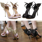 Chic Butterfly Wings High Heels Womens Party Wedding Ankle Strap Sandal Shoes