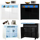 White/black Sideboard High Gloss Storage Cabinet Buffets Cupboard Unit Led Light