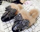 Womens Fashion Chic Black Rhinestone Loafer Fur Lined Casual Oxford Style Shoes