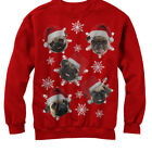 Lost Gods Ugly Christmas Sweater Pug Snowflakes Womens Graphic Sweatshirt