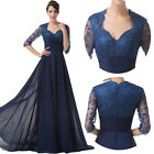 Vintage Half Sleeve Style Wedding Evening Dress Party Long Prom Gown Size 6-20