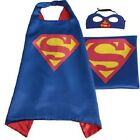 KIDS SUPERHERO COSTUMES SUPERMAN MASK AND CAPES SATIN FABRIC NEW ONE SIZE