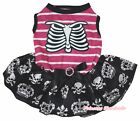 Skeleton Rib Halloween Pink Striped Top Skull Crown Tutu Pet Dog Puppy Dress Bow