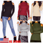 US Women Off Shoulder Long Sleeve Top Fit Autumn Shirt Turtleneck Casual Sweater