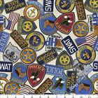 "QT DAN MORRIS ""PROTECT & SERVE"" 26128E POLICE PATCHES WORDS FABRIC (SELECT SIZE)"
