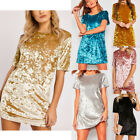 Womens Crushed Mini Dress Short Sleeve Velvet Loose Long Tops T Shirts Blouse US