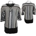 Ladies 3/4 Sleeve Baggy Batwing Multi Print 2in1 Layered Shirt Necklace Top