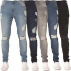NEW MENS SKINNY JEANS EZ 383 SUPER STRETCH RIPPED STYLE DENIM PANTS TROUSERS