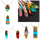 Vintage Resin Wood Colorful Pendant Handmade Necklace Rope for Men Women 1pc
