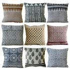 Indian Hand Woven Cotton Kilim Pillow Hand Block Printed Cushion Cover 45x45cms image