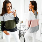 Women Autumn Long Sleeve Sweatshirt Casual Lace Up Sweater Shirt Blouse Jumper