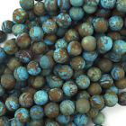 "Matte Brown Blue Turquoise Round Beads 15.5"" Strand Frost 4mm 6mm 8mm 10mm 12mm"