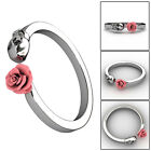 Fashion Women Girls Sugar Skull Gothic Open Alloy Rose Flower Ring US