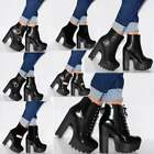 WOMENS CLEATED PLATFORMS FASHION CHUNKY ANKLE BOOTS HIGH HEELS SHOES SIZES