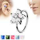 1pc Opal Glitter Flower Hoop Nose / Cartilage Ring Annealed Surgical Steel