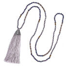 Retro Pattern Tassel Pendant Necklace Crystal Beaded Necklace Long Chain Jewelry