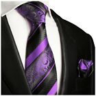 Hand Made Purple and Black Silk Tie and Pocket Square Set by Paul Malone