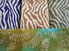 "WOW! Home decor burlap 100% jute animal prints faux batik leaves 1 yd x 46"" wide"