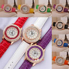 Women Girls Crystal Rhinestone PU Leather Watch Quicksand Quartz Wristwatch 1PC