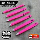 PRO Pink Tweezers > Slanted Straight Round Pointed for Eyebrows, Hair & Grooming