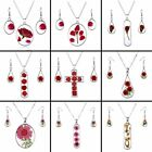 New Natural Real Dried Flowers Glass Pendant Necklace Earrings Set Party Jewelry