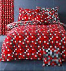 Pixel Check Red Grey Duvet Quilt Cover Bedding Set Single Double King Curtains