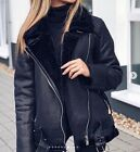 ZARA BLACK AVIATOR FAUX Leather SHEARLING FUR COLLAR BIKER JACKET COAT 2969/248