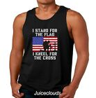 Christian Tank Top I Stand For The Flag I Kneel For The Cross Men's Muscle Shirt