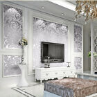 10M Roll Home Decor Gray Glitter Feature 3D Embossed Wallpaper Mural Accessories