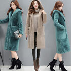 Winter Fashion Womens Warm Faux Fleece Hooded Loose Lapel Long Coats Overcoats