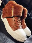 Chic Women Winter Leather With Furry Fashion Sneaker Ankle Boots Shoes туфли
