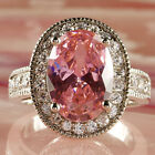 Delicate Women Oval Cut Ring Pink& White Topaz Gemstones Silver Jewelry Size7-11