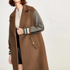 Korean Women Winter Wool Blend Lattice Sleeve  Long Coat Jacket Asian Size Brown