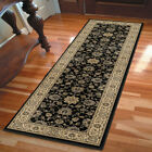 Black Scrolls Vines Buds Traditional-Persian/Oriental Area Rug Floral 1235