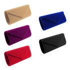 Ladies Faux Suede Velvet Envelope Style Clutch Bag Evening Prom Colorful Handbag