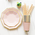 Party Disposable Tableware 8PCS/Set Paper Plates Cups 25 Straws Birthday Wedding