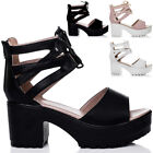 WOMENS LACE UP CLEATED SOLE BLOCK HEEL SANDALS SHOES