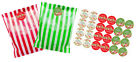 Striped paper party bags, x 24 with 30mm Merry Christmas Stickers, red or green