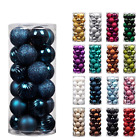 24pc Christmas Ball Ornaments Xmas Tree Decorations Shatterproof Baubles +Hooks