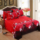 Polyester Fibre Red Rose Bedding Set Duvet Quilt Cover Flat Sheet Case All Size