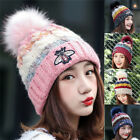 Women Ladies Winter Beanie Hat Cap Warm Knitted With Small Crystals Large Pom