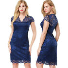 Womens ladies Casual Lace Floral Bodycon Cocktail Party Ballgown Wrap Dress