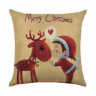 Christmas Pillow Case Santa Cotton Linen Throw Cushion Cover Sofa Car Bed Decor